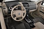 High angle dashboard view of a 2009 Mazda Tribute Hybrid