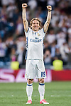 Luka Modric of Real Madrid celebrates winning after their 2016-17 UEFA Champions League Quarter-finals second leg match between Real Madrid and FC Bayern Munich at the Estadio Santiago Bernabeu on 18 April 2017 in Madrid, Spain. Photo by Diego Gonzalez Souto / Power Sport Images