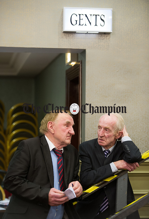 Former candidate JJ Mc Cabe with Fianna Fail candidate PJ Kelly during the election count at The West county Hotel, Ennis. Photograph by John Kelly.