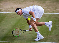 London, England, 10th July 2017. Tennis, Wimbledon. Milos Raonic (CAN). Photo Henk Koster, Tennis Images.
