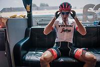Team Trek-Segafredo preparing for the big race ahead; cobbles @ Le Tour!<br /> <br /> Stage 9: Arras Citadelle > Roubaix (154km)<br /> <br /> 105th Tour de France 2018<br /> ©kramon