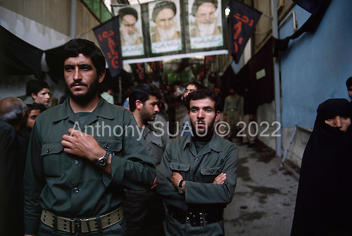 """Tehran, Iran .June 7, 1989..Mourners at the home of the Grand Ayatullah Sayid Ruhullah Musawi Khomeini in the north of Tehran. He died of heart attack on June 3, 1989...Khomeini was a senior Shi`i Muslim cleric, Islamic philosopher and marja (religious authority), and the political leader of the 1979 Iranian Revolution that saw the overthrow of Mohammad Reza Pahlavi, the last Shah of Iran. Following the revolution, Khomeini became the country's Supreme Leader?the paramount political figure of the new Islamic Republic. ..Khomeini was a marja al-taqlid, (source of imitation) and important spiritual leader to many Shia Muslims. He was also an innovative Islamic political theorist, most noted for his development of the theory of velayat-e faqih, the """"guardianship of the jurisconsult (clerical authority)"""". He was named Time's Man of the Year in 1979 and also one of Time magazine's 100 most influential people of the 20th century."""