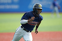 Khalil Watson (5) of Wake Forest High School (NC) playing for the Atlanta Braves scout team rounds third base during game four of the South Atlantic Border Battle at Truist Point on September 27, 2020 in High Pont, NC. (Brian Westerholt/Four Seam Images)