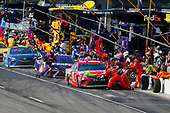 Monster Energy NASCAR Cup Series<br /> Brickyard 400<br /> Indianapolis Motor Speedway, Indianapolis, IN USA<br /> Sunday 23 July 2017<br /> Martin Truex Jr, Furniture Row Racing, Auto-Owners Insurance Toyota Camry, Denny Hamlin, Joe Gibbs Racing, FedEx Cares Toyota Camry and Kyle Busch, Joe Gibbs Racing, Skittles Toyota Camry make pit stops<br /> World Copyright: Russell LaBounty<br /> LAT Images