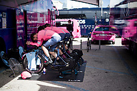 Team EF Education - Nippo warming up on the turbo<br /> <br /> Final stage 7 (ITT) from San Benedetto del Tronto to San Benedetto del Tronto (10.1km)<br /> <br /> 56th Tirreno-Adriatico 2021 (2.UWT) <br /> <br /> ©kramon