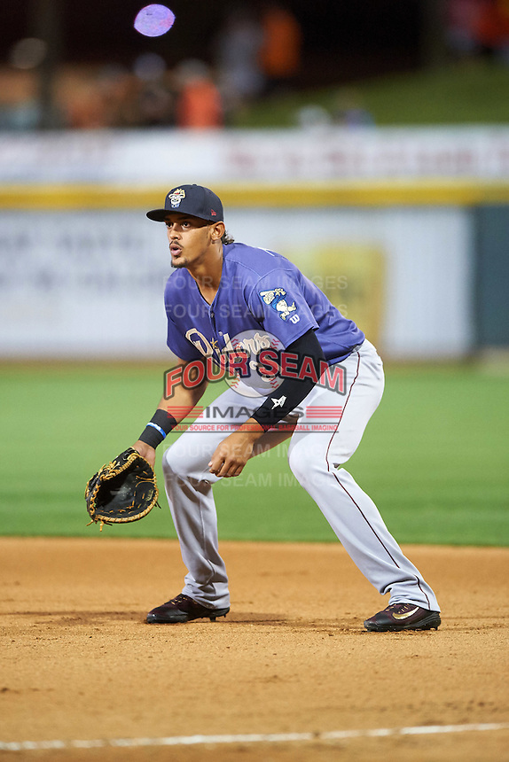 Frisco RoughRiders first baseman Ronald Guzman (31) during a game against the Corpus Christi Hooks on April 23, 2016 at Whataburger Field in Corpus Christi, Texas.  Corpus Christi defeated Frisco 3-2.  (Mike Janes/Four Seam Images)