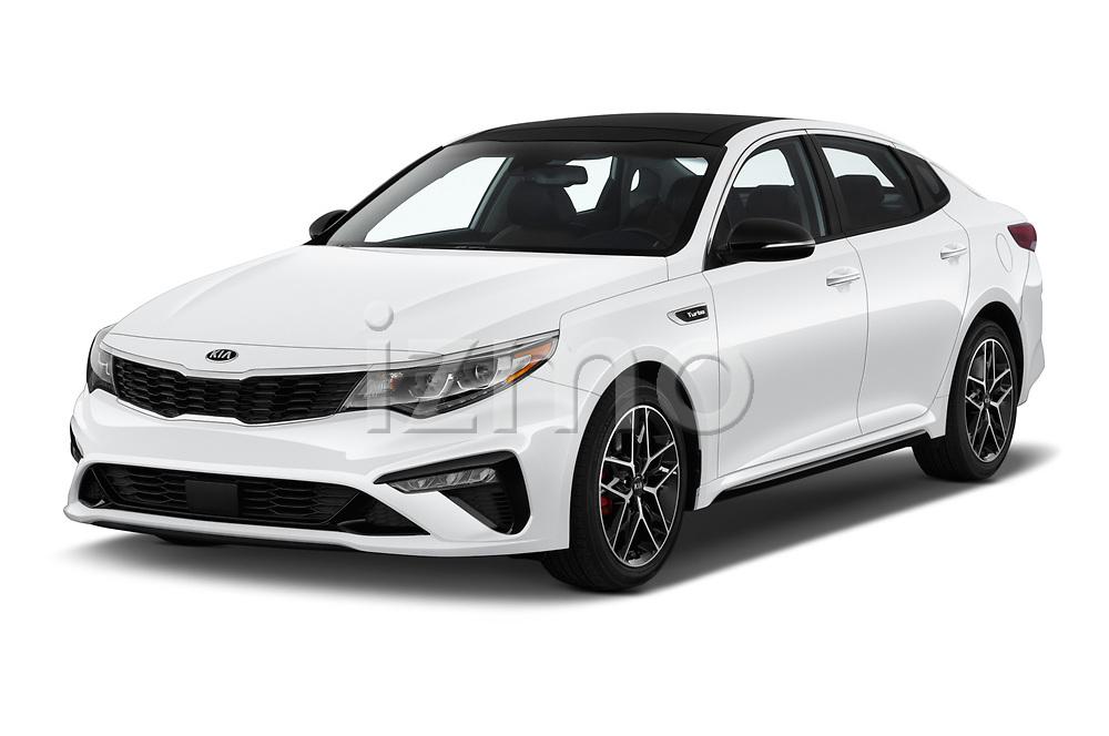 2019 KIA Optima SX-Turbo 4 Door Sedan angular front stock photos of front three quarter view