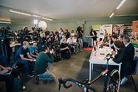 press conference announcing the 2018/2019 plans of cyclocross World Champion Wout van Aert (BEL)<br /> <br /> announcing his Cibel-Cebon Offroad Team<br /> <br /> photo by ©kramon<br /> 5 october 2018