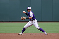 CHAPEL HILL, NC - FEBRUARY 19: Travis Holt #8 of High Point University throws to first base during a game between High Point and North Carolina at Boshamer Stadium on February 19, 2020 in Chapel Hill, North Carolina.