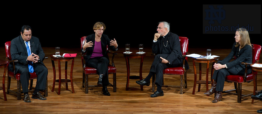 """September 28, 2011; From left to right, participants Juan Rangel, CEO for the United Neighborhood Organization, Randi Weingarten, president of the American Federation of Teachers, AFL-CIO, Bishop Gerald F. Kicanas and Wendy Kopp, CEO and founder of Teach For America, during their discussion titled, """"The Conversation: Developing the Schools Our Children Deserve"""" part of the 2011-12 Notre Dame Forum at the Leighton Concert Hall. Photo by Barbara Johnston/University of Notre Dame"""