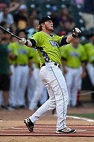 Dash Winningham of the Columbia Fireflies participates in the Home Run Derby as part of of the South Atlantic League All-Star Game festivities on Monday, June 19, 2017, at Spirit Communications Park in Columbia, South Carolina. (Tom Priddy/Four Seam Images)