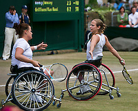 July 6, 2014, UK, London, Tennis, Wimbledon, AELTC, Men's Wheelchair Doubles Final: Stephane Houdet (FRA) & Shingo Kunieda (JPN) v Maikel Scheffers (NED) & Ronald Vink (NED), Pictured: <br /> <br /> Photo: Tennisimages/Henk Koster