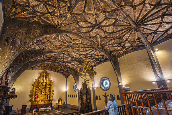 Wood Vault, 16th century. San Andres Church. Ibarrangelu. Urdaibai Region. Bizkaia. Basque Country. Spain.