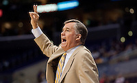 Mike Montgomery calls out to his players. The California Golden Bears defeated the Oregon Duck 90-74 during the Pacific Life Pac-10 Conference Tournament at Staples Center in Los Angeles, California on March 11th, 2010. The Bears will face UCLA tomorrow at 6pm PST.
