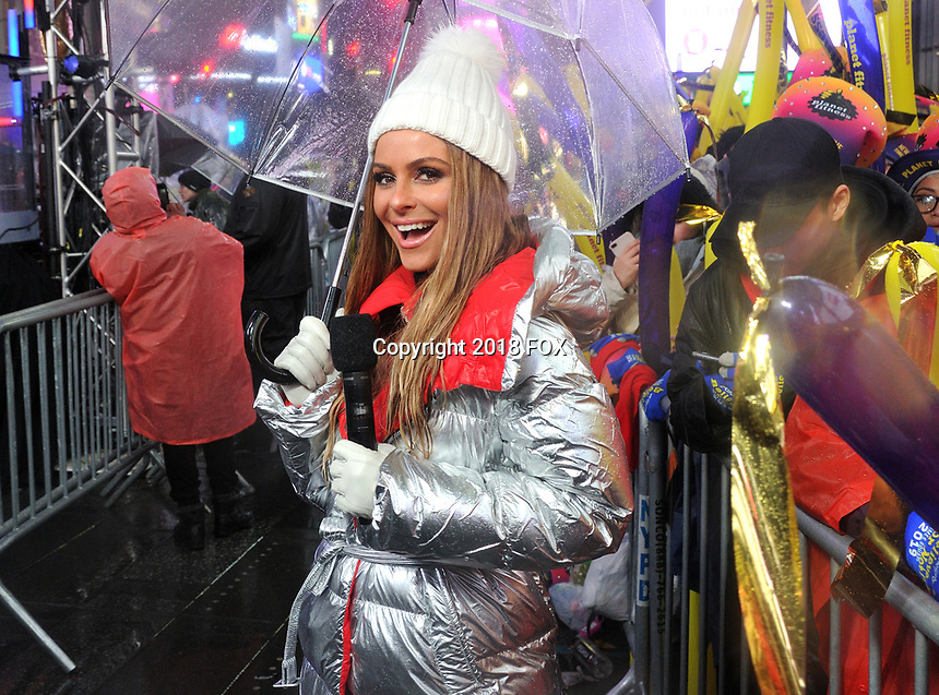 """NEW YORK - DECEMBER 31: Maria Menounos hosts """"FOX'S New Years Eve with Steve Harvey: Live From Times Square"""" on December 31, 2018 in New York City. (Photo by Stephen Smith/Fox/PictureGroup)"""