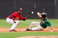 Shortstop Jurickson Profar #10 of the Hickory Crawdads waits for the throw as Daniel Black #18 of the Greensboro Grasshoppers steals second base at L.P. Frans Stadium on May 18, 2011 in Hickory, North Carolina.   Photo by Brian Westerholt / Four Seam Images