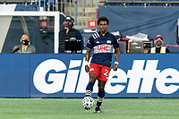 FOXBOROUGH, MA - OCTOBER 3: DeJuan Jones #24 of New England Revolution collects a pass during a game between Nashville SC and New England Revolution at Gillette Stadium on October 3, 2020 in Foxborough, Massachusetts.