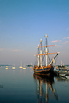 The HMS Bounty, a replica ship built for the 1962 movie Mutiny On The Bounty, at a wharf in Boothbay Harbor, Maine, USA. The Bounty was lost at sea off the coast of North Carolina, October, 2012.
