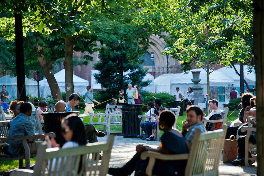 People enjoy spring day in city park, Philadelphia, Rittenhouse Square, Philadelphia, PA