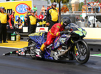 Mar 13, 2015; Gainesville, FL, USA; NHRA pro stock motorcycle rider Shawn Gann during qualifying for the Gatornationals at Auto Plus Raceway at Gainesville. Mandatory Credit: Mark J. Rebilas-