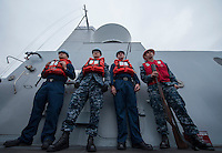 130423-N-DR144-162 Pacific Ocean (April 23, 2013)-  Sailors assigned to the underway replenishment detail aboard the Amphibious Transport Dock Ship USS Anchorage (LPD 23) stand by to fire shot lines as the ship approaches to take on fuel from fleet replenishment oiler USNS Henry J. Kaiser (T-AO 187). Anchorage is currently en route to its namesake city of Anchorage, Alaska for its commissioning ceremony May 4. (U.S. Navy photo by Mass Communication Specialist 1st Class James R. Evans / RELEASED)
