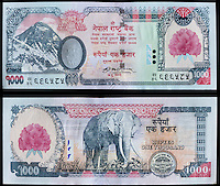 Nepal Currency, 1000 Rupees, front and back.  Mt. Everest, Elephant.  Uses Devanagari alphabet.
