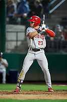 Vancouver Canadians Will Robertson (23) at bat during a Northwest League game against the Tri-City Dust Devils at Gesa Stadium on August 21, 2019 in Pasco, Washington. Vancouver defeated Tri-City 1-0. (Zachary Lucy/Four Seam Images)