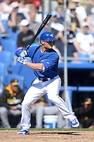 Toronto Blue Jays outfielder Kevin Pillar (11) during a spring training game against the Pittsburgh Pirates on February 28, 2014 at Florida Auto Exchange Stadium in Dunedin, Florida.  Toronto defeated Pittsburgh 4-2.  (Mike Janes/Four Seam Images)
