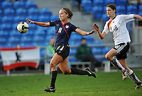Lauren Cheney runs onto goal against Germany in the 2010 Algarve Cup Final in Faro, Portugal. Cheney scored one goal and the US won 3-2.