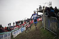 European Champion Quinten Hermans (BEL/Telenet-Fidea) holding on to the fences on the steep, slippery slope<br /> <br /> Noordzeecross - Middelkerke 2016