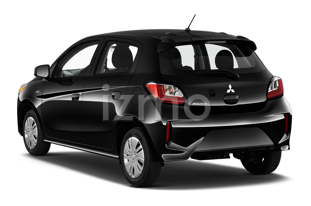 Car pictures of rear three quarter view of 2021 Mitsubishi Mirage ES 5 Door Hatchback Angular Rear