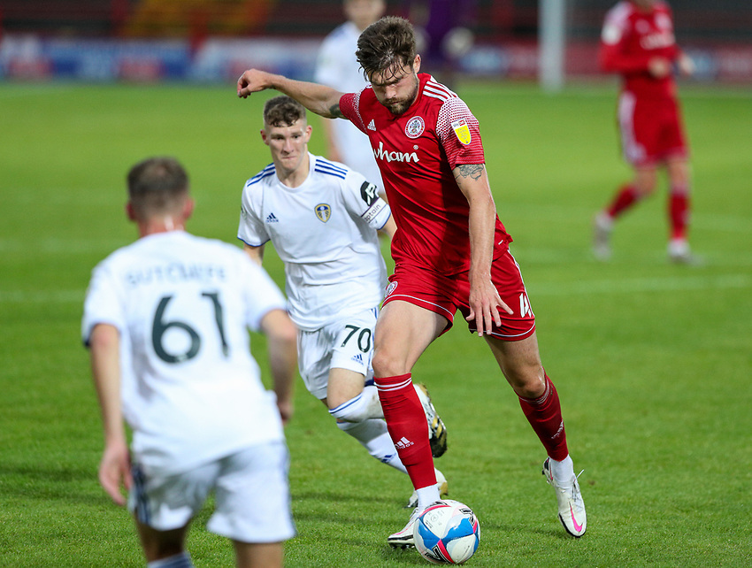 Accrington Stanley's Cameron Burgess scores his side's second goal <br /> <br /> Photographer Alex Dodd/CameraSport<br /> <br /> EFL Trophy Northern Section Group G - Accrington Stanley v Leeds United U21 - Tuesday 8th September 2020 - Crown Ground - Accrington<br />  <br /> World Copyright © 2020 CameraSport. All rights reserved. 43 Linden Ave. Countesthorpe. Leicester. England. LE8 5PG - Tel: +44 (0) 116 277 4147 - admin@camerasport.com - www.camerasport.com