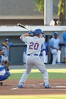 Kingsport Mets outfielder Jarred Kelenic (20) at bat during a game against the Burlington Royals at Burlington Athletic Complex on July 28, 2018 in Burlington, North Carolina. Burlington defeated Kingsport 4-3. (Robert Gurganus/Four Seam Images)