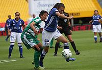 BOGOTÁ- COLOMBIA,14-07-2019:Karen Paez (Der.) jugadora de Millonarios femenino  disputa el balón con Milena Torres (Izq.) jugadora de La Equidad femenino  durante el primer partido de la Liga Águila Femenina 2019 jugado en el estadio Nemesio Camacho El Campín de la ciudad de Bogotá. /Karen Paez (R) player of Millonarios fights the ball  against of Milena Torres (L) player of Equidad during the firts match for the Liga Aguila women  2019 played at the Nemesio Camacho El Campin stadium in Bogota city. Photo: VizzorImage / Felipe Caicedo / Staff