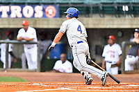 Kingsport Mets designated hitter Jeremy Vasquez (4) swings at a pitch during a game against the Greeneville Astros at Pioneer Park on July 1, 2017 in Greeneville, Tennessee. The Astros defeated the Mets 6-2. (Tony Farlow/Four Seam Images)