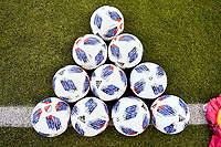 San Jose, CA - Saturday April 14, 2018: Soccer balls prior to a Major League Soccer (MLS) match between the San Jose Earthquakes and the Houston Dynamo at Avaya Stadium.