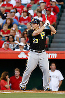 Travis Snider #23 of the Pittsburgh Pirates bats against the Los Angeles Angels at Angel Stadium on June 21, 2013 in Anaheim, California. (Larry Goren/Four Seam Images)
