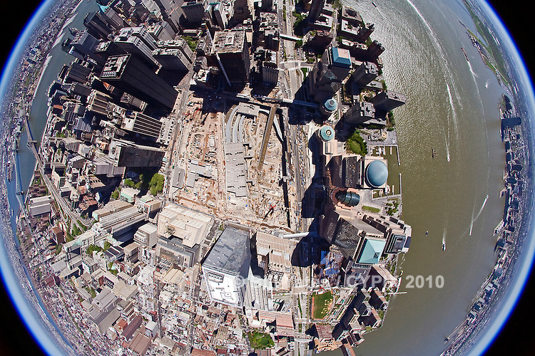 Ground Zero, NewYork City fisheye helicopter aerial