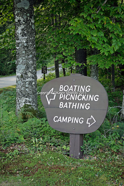 Road sign, Mt. Blue State Park, Weld, Maine, USA