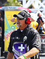 Apr 11, 2015; Las Vegas, NV, USA; John Medlen , crew chief for NHRA funny car driver Jack Beckman during qualifying for the Summitracing.com Nationals at The Strip at Las Vegas Motor Speedway. Mandatory Credit: Mark J. Rebilas-
