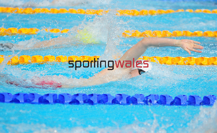 Wales' Jack Thomas celebrates taking the bronze medal in the men's para-sport 200m freestyle S14 final<br /> <br /> Photographer Chris Vaughan/Sportingwales<br /> <br /> 20th Commonwealth Games - Day 3 - Saturday 26th July 2014 - Swimming - Tollcross International Swimming Centre - Glasgow - UK