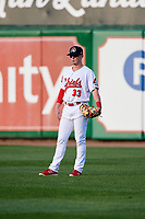 Peoria Chiefs right fielder Bryce Denton (33) during a game against the West Michigan Whitecaps on May 9, 2017 at Dozer Park in Peoria, Illinois.  Peoria defeated West Michigan 3-1.  (Mike Janes/Four Seam Images)