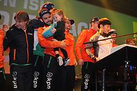 SHORT TRACK: ROTTERDAM: Ahoy, 12-03-2017, KPN ISU World Short Track Championships 2017, Huldiging in KPN Clubhuis, Sjinkie Knegt met dochter Myrthe, ©photo Martin de Jong