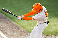 Tennessee Volunteers second baseman Max Ferguson (2) at bat against the Florida Gators on Robert M. Lindsay Field at Lindsey Nelson Stadium on April 9, 2021, in Knoxville, Tennessee. (Danny Parker/Four Seam Images)