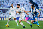 Daniel Carvajal Ramos (R of Real Madrid fights for the ball with Florin Andone of RC Deportivo La Coruna  during the La Liga 2017-18 match between Real Madrid and RC Deportivo La Coruna at Santiago Bernabeu Stadium on January 21 2018 in Madrid, Spain. Photo by Diego Gonzalez / Power Sport Images