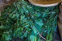 Yogyakarta, Java, Indonesia.  Cassava Leaves, Beringharjo Market.