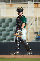 Greensboro Grasshoppers catcher J.D. Osborne (46) on defense against the Kannapolis Intimidators at Kannapolis Intimidators Stadium on August 5, 2018 in Kannapolis, North Carolina. The Intimidators defeated the Grasshoppers 9-0 in game two of a double-header.  (Brian Westerholt/Four Seam Images)