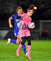 Ines Dhaou (5 Charleroi) pictured in front of Lobke Loonen (19 Gent) during a female soccer game between  AA Gent Ladies and Sporting Charleroi Feminin on the fifth matchday of the 2020 - 2021 season of Belgian Scooore Womens Super League , friday 16 th of October 2020  in Oostakker , Belgium . PHOTO SPORTPIX.BE | SPP | DAVID CATRY