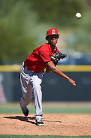 Los Angeles Angels of Anaheim pitcher Elvin Rodriguez (70) during an Instructional League game against the Colorado Rockies on October 6, 2016 at the Tempe Diablo Stadium Complex in Tempe, Arizona.  (Mike Janes/Four Seam Images)