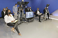 Campinas (SP), 01/10/2020 - Eleicoes/Debate - Nove candidatos a prefeito de Campinas (SP) se enfrentam nesta quinta-feira (01) no primeiro debate promovido pela Band. Alessandra Ribeiro (PCdoB), Andre Von Zuben (Cidadania), Artur Orsi (PSD), Dario Saadi (Republicanos), Delegada Teresinha (PTB), Dr. Helio (PDT), Rafa Zimbaldi (PL), Pedro Tourinho (PT) e Wilson Matos (Patriota) irao apresentar suas propostas e serao confrontados pelos seus adversarios. Esse grupo integra os partidos que tem cinco representantes no Congresso Nacional. (Foto: Denny Cesare/Codigo 19/Codigo 19)